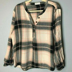 Maurices Top Size XXL Plaid Popover Shirt